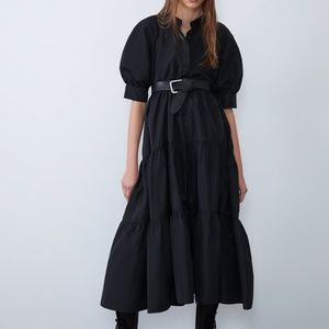 ZARA Black Voluminous Sleeved Midi Dress